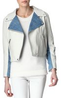 Acne Studios Rita Leather and Denim Jacket - Lyst