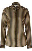 Burberry London Cotton Silk Striped Shirt in Tourmaline Yellow - Lyst