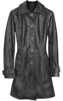 Forzieri Black Leather Trench Coat - Lyst