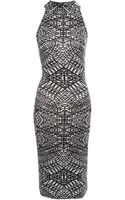 Jane Norman High Neck Printed Midi Dress - Lyst