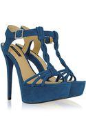 Rachel Zoe Valerie Turquoise Suede Platform Sandal - Lyst