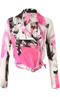 Christopher Kane Rose Printed Crepe De Chine Biker Jacket - Lyst
