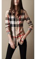 Burberry Brit Check Cotton Blend Shirt - Lyst