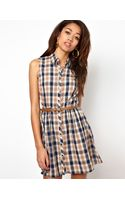 River Island Chelsea Girl Sleeveless Check Shirt Dress - Lyst