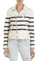 Each X Other Striped Biker Jacket Whtblk Stripe - Lyst