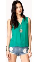Forever 21 Sheer Mock Button Top - Lyst