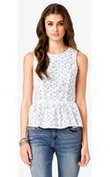 Forever 21 Contrast Lace Peplum Top - Lyst