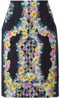 Erdem Floral Printed Crepe Silk Pencil Skirt - Lyst