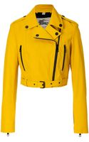 Burberry Leather Biker Jacket in Tourmaline Yellow - Lyst