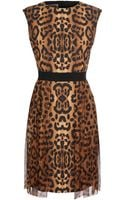 Giambattista Valli Leopard Printed Cotton Dress with Chiffon Skirt - Lyst