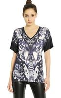 McQ by Alexander McQueen Printed Jersey V-neck T-shirt - Lyst