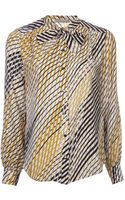 Jason Wu Stripe Tie Neck Blouse - Lyst