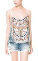 Zara Printed Vest Top - Lyst