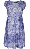 Topshop Maternity China Blue Flippy Dress - Lyst