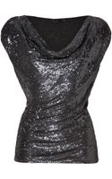 Donna Karan New York Sequined Front Silk Top  - Lyst