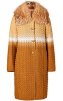 Missoni Woolblend Coat with Removable Fox Fur Collar - Lyst
