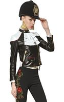 Moschino Embroidered Nappa Leather Jacket - Lyst