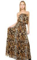 Philipp Plein Printed Silk Chiffon Long Dress - Lyst