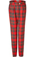 Preen By Thorton Bregazzi Wool Bo Pants in Red Tartan - Lyst