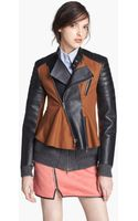 3.1 Phillip Lim Felt Leather Moto Jacket - Lyst
