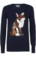 Markus Lupfer Sequinned Fox Jumper - Lyst