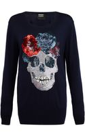Markus Lupfer Navy Sequinned Floral Skull Jumper - Lyst