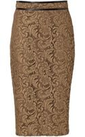 Burberry Cotton Blend Lace Pencil Skirt in Dark Camel - Lyst