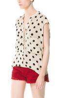 Zara Polka Dot Shirt - Lyst