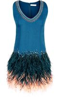 Matthew Williamson Embellished Silk Feather Shift - Lyst