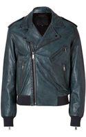 McQ by Alexander McQueen Leather Hybrid Biker Jacket in Petrol - Lyst