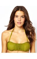 Asos Ruched Tab Front Bandeau Bikini Top - Lyst