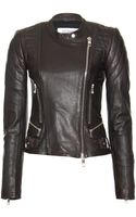 Closed Leather Biker Jacket - Lyst