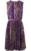 J. Mendel Sleeveless Wisteria Print Pintuck Dress - Lyst
