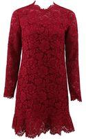 Valentino Long Sleeve Ruffle Hem Lace Dress - Lyst