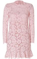 Valentino Lace Dress with Ruffled Hem - Lyst