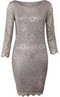John Zack Long Sleeve Metallic Lace Dress - Lyst