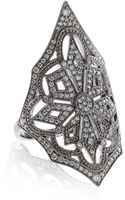 Stone White Gold and Diamond Ornate Ring - Lyst