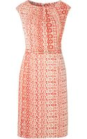 Ellen Tracy Aztec Beaded Waist Dress - Lyst