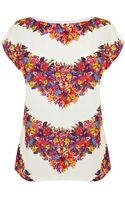 Oasis Chevron Floral Placement Tee - Lyst