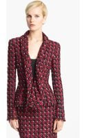 Oscar de la Renta Shawl Collar Check Jacket - Lyst