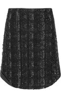 Antonio Berardi Leather Trimmed Bouclé Tweed Mini Skirt - Lyst