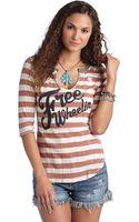 Free People Dream On Threequarter Sleeved Printed Top - Lyst