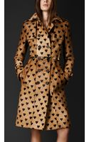 Burberry Heart Print Calfskin Trench Coat - Lyst