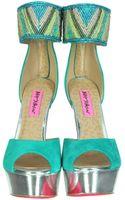 Betsey Johnson Ireen Embroidered Aqua Suede Platform Sandals - Lyst