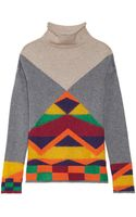 Etro Intarsia Wool Silk and Cashmereblend Turtleneck Sweater - Lyst