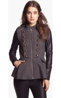 BCBGeneration Tweed Faux Leather Military Jacket - Lyst