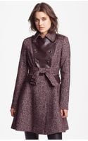 Via Spiga Double Breasted Tweed Faux Leather Coat - Lyst