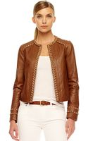 Michael by Michael Kors Chain-trim Leather Jacket - Lyst
