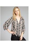 Dolce Vita Hot Pink and Black Printed Silk Three Quarter Sleeve Leonora Blouse - Lyst