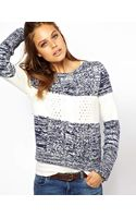 Hilfiger Denim Stripe Aran Knit Jumper - Lyst